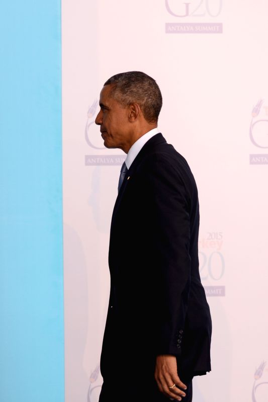 U.S. President Barack Obama attends the welcoming ceremony of G20 Summit held in Antalya, Turkey, on Nov. 15, 2015. The two-day summit kicked off on Sunday. ...