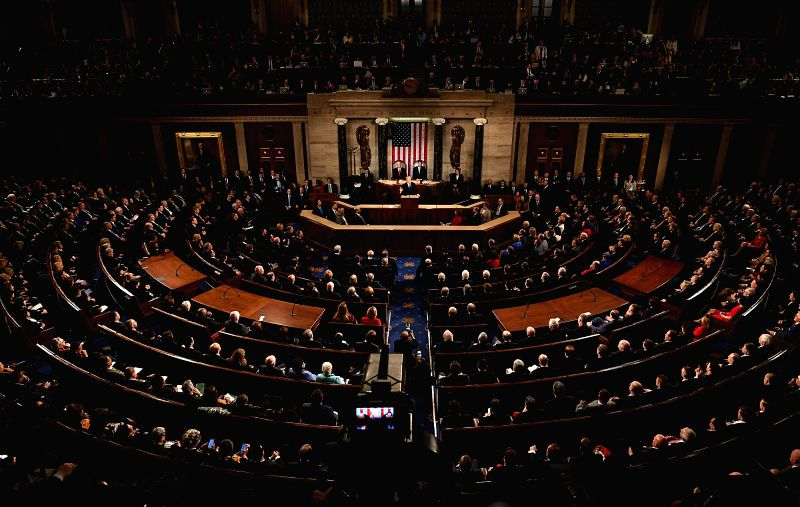 :U.S. President Donald Trump(C) delivers his State of the Union address to a joint session of Congress on Capitol Hill in Washington D.C., the United States, ...