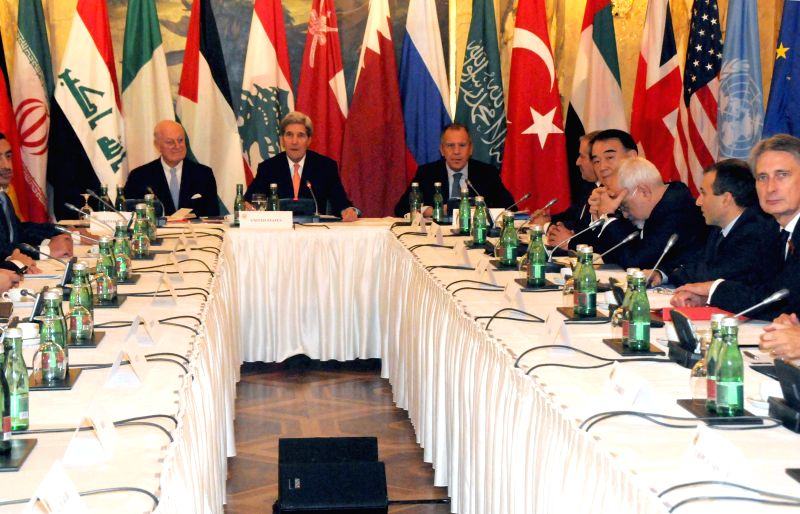 U.S. Secretary of State John Kerry (2nd, L), Russian Foreign Minister Sergey Lavrov (3rd, L) and Chinese Vice Foreign Minister Li Baodong (4th, R) attend the ... - Sergey Lavrov