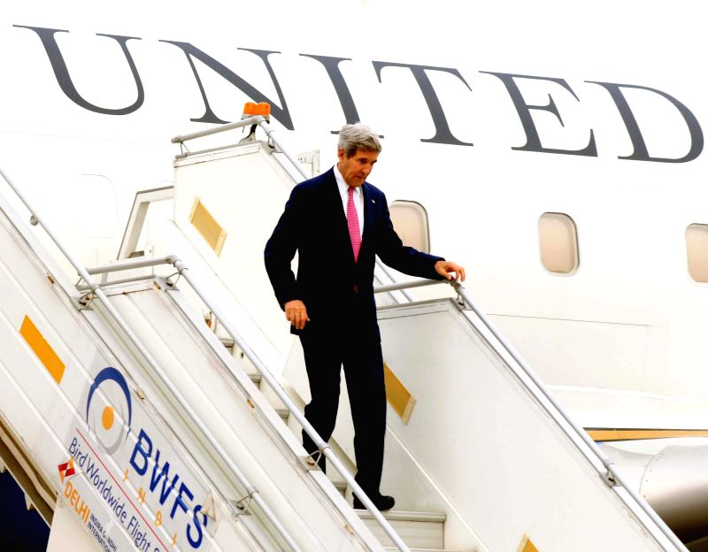 U.S. Secretary of State John Kerry arrives at Air Force Station, Palam in New Delhi on July 30, 2014.