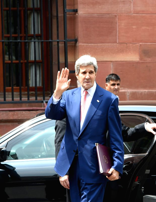 U.S. Secretary of State John Kerry at South block after a meeting with Indian officials in New Delhi on July 31, 2014.