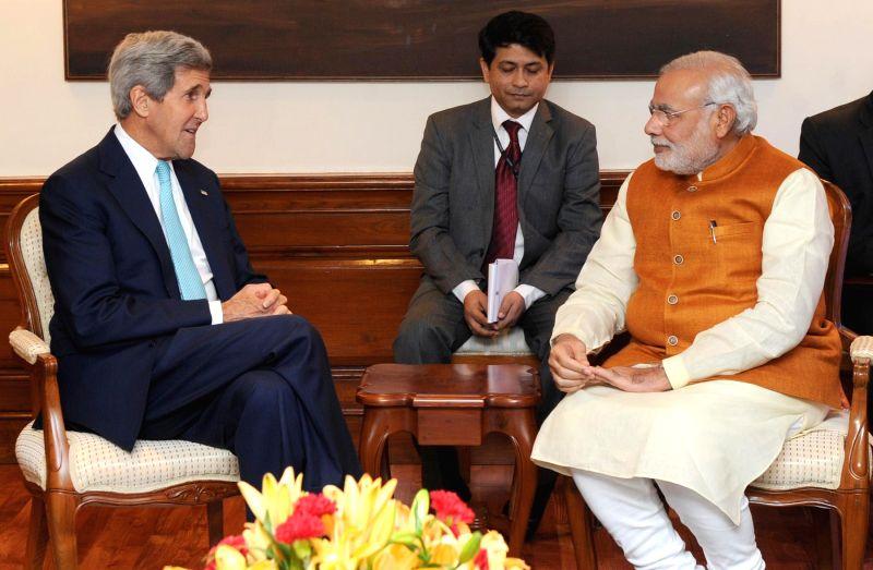 U.S. Secretary of State John Kerry calls on Prime Minister Narendra Modi in New Delhi on August 01, 2014. - Narendra Modi