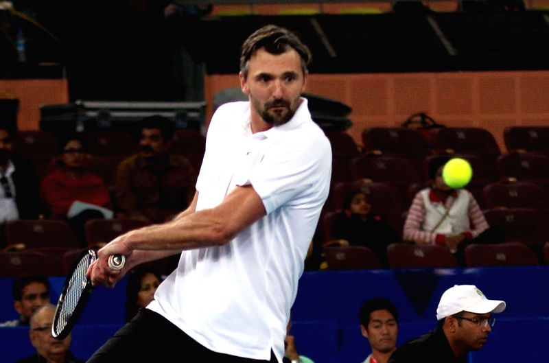 UAE Royals Goran Ivanisevic  in action during an IPTL match between UAE Royals and Legendari Japan Warriors at Indira Gandhi Stadium in New Delhi, on Dec 10, 2015. - Indira Gandhi Stadium