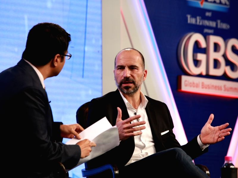 Uber CEO Dara Khosrowshahi at the 4th Global Business Summit in New Delhi on Feb 23, 2018.
