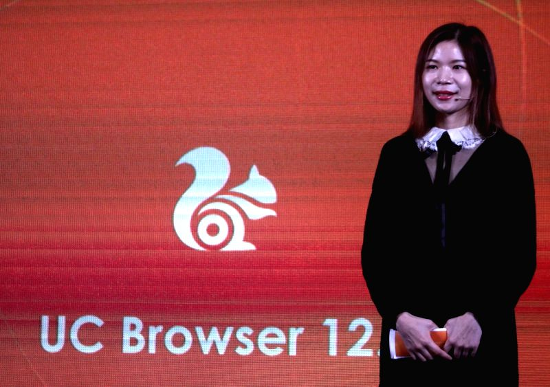 UC Browser Head, Internatinonal Business department, Alibaba Mobile Business Group Menurut Shallia Li addresses during the launch of UC browser 12.0, in New Delhi on Feb 7, 2018.