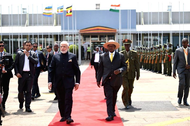 Uganda President Yoweri Kaguta Museveni sees off Prime Minister Narendra Modi as he departs from Kampala after successful completion of his state visit to Uganda, on July 25, 2018. - Narendra Modi