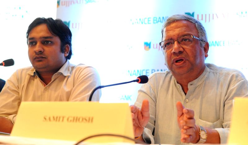 Ujjivan Small Finance Bank Ltd Managing Director and CEO Samit Ghosh addrresses a press conference after launching bank's six new branches in Kolkata on April 28, 2017. - Samit Ghosh
