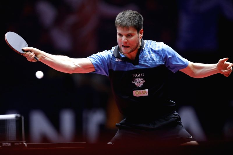 Ukrainian table tennis player Dimitrij Ovtcharov in action during 2017 ITTF World Tour India Open at Thyagaraj Sports Complex in New Delhi on Feb. 17, 2017.