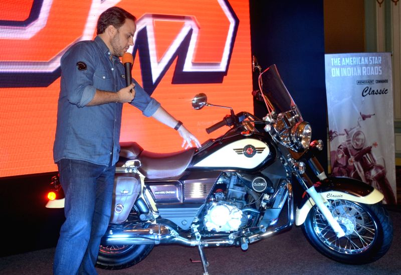 UM India Director Jose Villegas launches Renegade Commando Classic and Renegade Commando Mojave motorcycles during a press conference in Bengaluru on Sept 13, 2017.