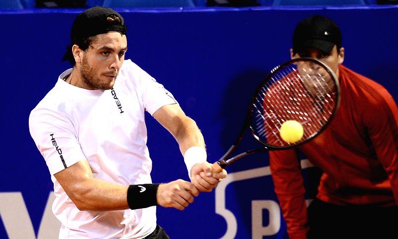 UMAG, July 18, 2018 - Marco Trungelliti of Argentina hits a return against  Franko Skugor of Croatia during the first round of 2018 ATP Plava laguna Croatia Open Umag tennis tournamet in Umag, ...