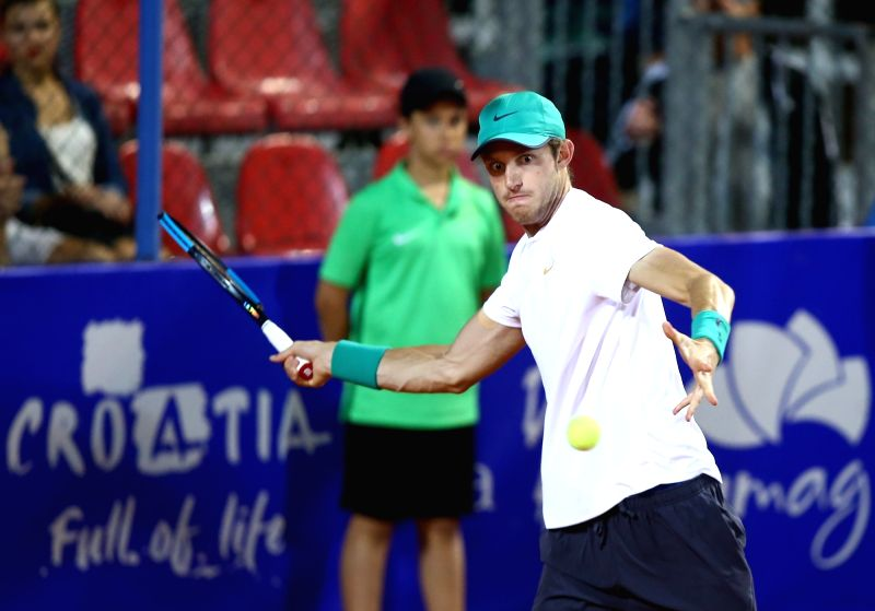 UMAG, July 18, 2018 - Nicolas Jarry  of Chile hits a return against Martin Klizan of Slovakia during the first round of 2018 ATP Plava laguna Croatia Open Umag tennis tournamet in Umag, Croatia, on ...