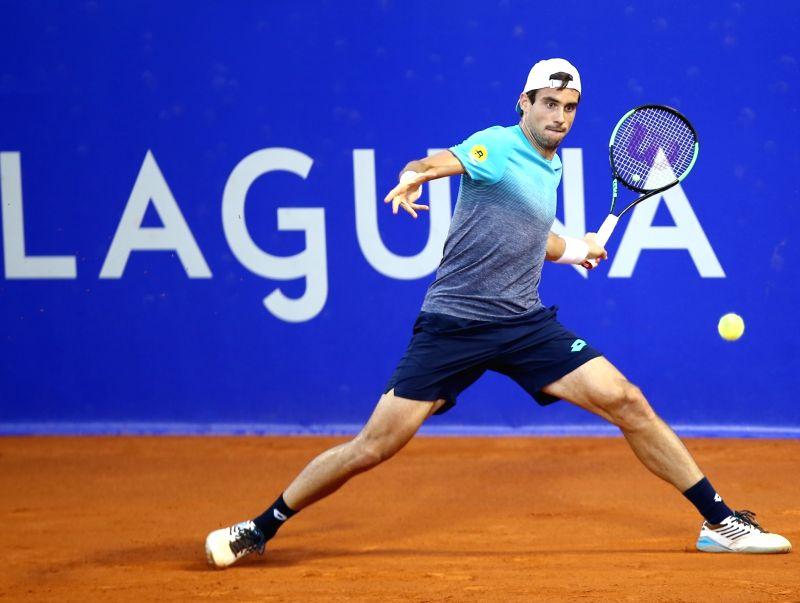 UMAG, July 19, 2018 - Guido Pella of Argentina hits a return against Aljaz Bedene of Slovenia during the second round of 2018 ATP Plava laguna Croatia Open Umag tennis tournamet in Umag, Croatia, on ...