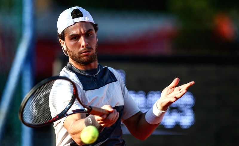UMAG, July 20, 2018 - Marco Trungelliti of Argentina hits a return to Marton Fucsovics of Hungary during the second round of 2018 ATP Croatia Open in Umag, Croatia, on July 19, 2018. Marco ...