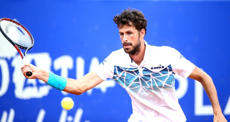 UMAG, July 21, 2018 - Robin Hasse of the Netherlands competes during the singles quarterfinal match against Andrey Rublev of Russia at 2018 ATP Croatia Open in Umag, Croatia, on July 20, 2018. Robin ...