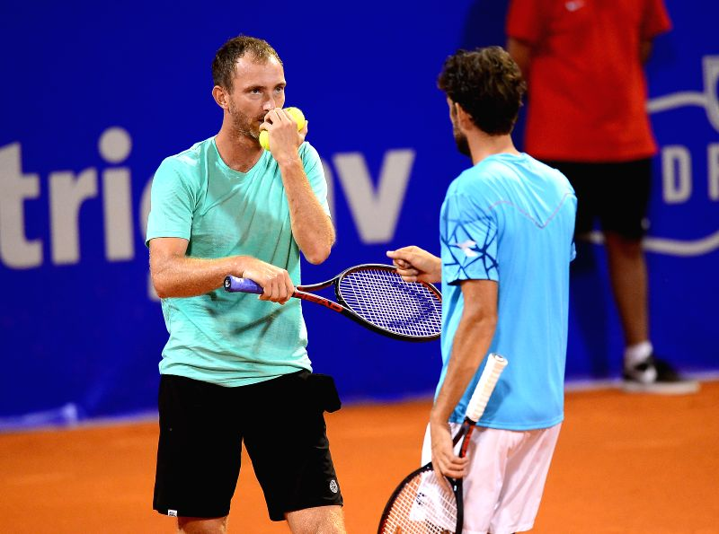 UMAG, July 22, 2018 - Matwe Middelkoop (L) and Robin Haase of the Netherlands react during the men's doubles final match against Roman Jebavy and Jiri Vesely of the Czech Republic at 2018 ATP Croatia ...