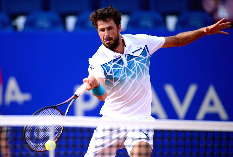 UMAG, July 22, 2018 - Robin Haase of the Netherlands competes against Guido Pella of Argentina during the men's singles semifinal match at 2018 ATP Croatia Open in Umag, Croatia, July 21, 2018. Robin ...