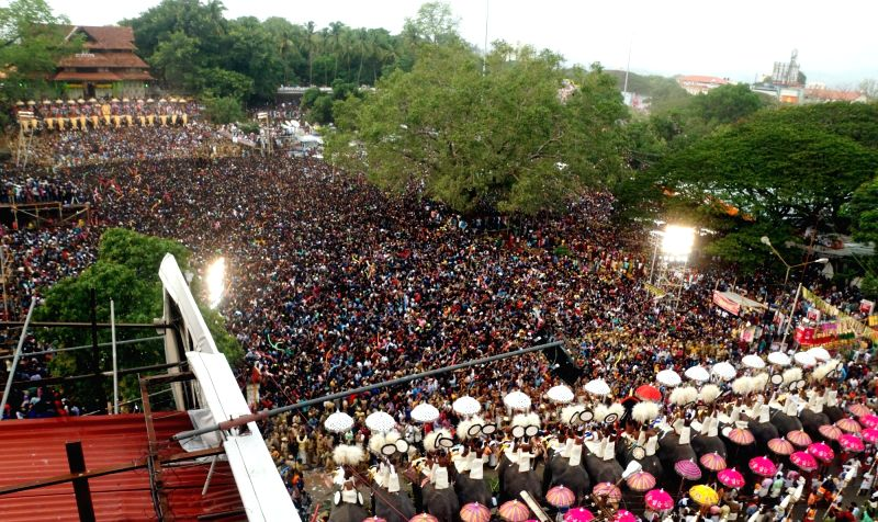 Umbrella showing competition underway during Thrissur Pooram in Thrissur of Kerala on May 5, 2017.