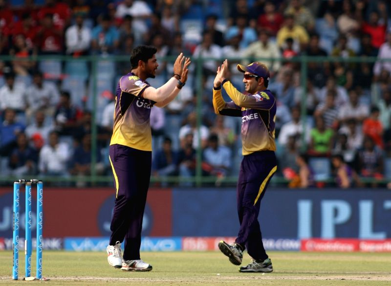 Umesh Yadav of Kolkata Knight Riders celebrates fall of Sanju Samson's wicket during an IPL 2017 match between Delhi Daredevils and Kolkata Knight Riders at Feroz Shah Kotla in New Delhi ... - Umesh Yadav and Feroz Shah Kotla
