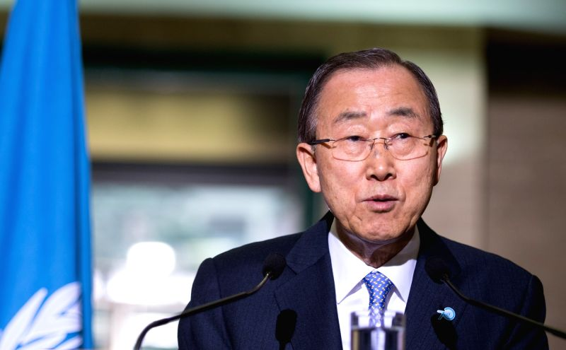 UN Secretary-General Ban Ki-moon attends a press conference with Peter Maurer (not in picture), president of the International Committee of the Red Cross (ICRC), ...