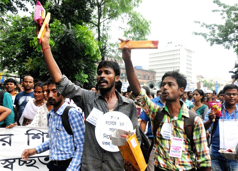 Unemployed youths stage a demonstration against West Bengal government in Kolkata, on Aug 10, 2016.