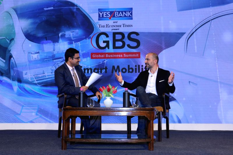 Uner CEO Dara Khosrowshahi and ET Now MD Sandeep Gurumurthi at the 4th Global Business Summit in New Delhi on Feb 24, 2018.