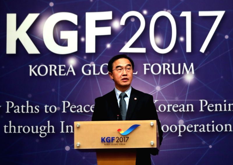 Unification Minister Cho Myoung-gyon gives a keynote speech during the Korea Global Forum, an international forum on peace on the Korean Peninsula, at a hotel in Seoul on Oct. 17, 2017. - Cho Myoung