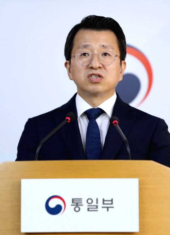 Unification Ministry spokesman Baik Tae-hyun speaks during a news briefing at the ministry in Seoul on Aug. 7, 2018. Baik said North Korea repatriated a South Korean citizen the same day ...