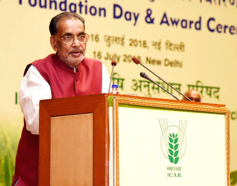"""Union Agriculture and Farmers Welfare Minister Radha Mohan Singh addresses at the """"90th Foundation Day of ICAR and Award Ceremony"""", in New Delhi on July 16, 2018. - Radha Mohan Singh"""