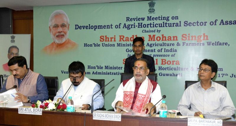 Union Agriculture and Farmers Welfare Minister Radha Mohan Singh chairs a review meeting on Development of Agri-Horticultural Sector of Assam, in Guwahati on July 17, 2018. - Radha Mohan Singh