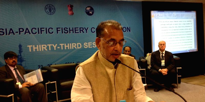 Union Agriculture Minister Radha Mohan Singh addresses during the 33rd Session of Asia-Pacific Fishery Commission (APFIC) in Hyderabad on June 23, 2014. - Radha Mohan Singh