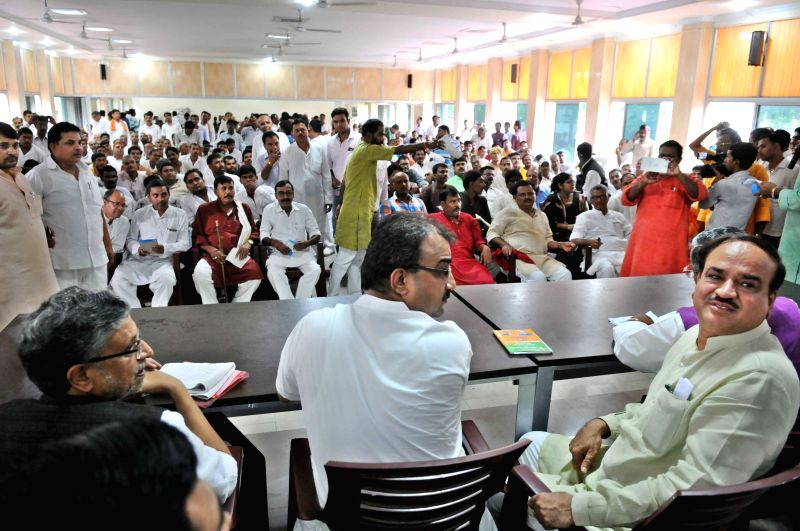 Union Chemical and Fertilizers Minister Anant Kumar during a BJP party meeting in Patna on July 8, 2015.