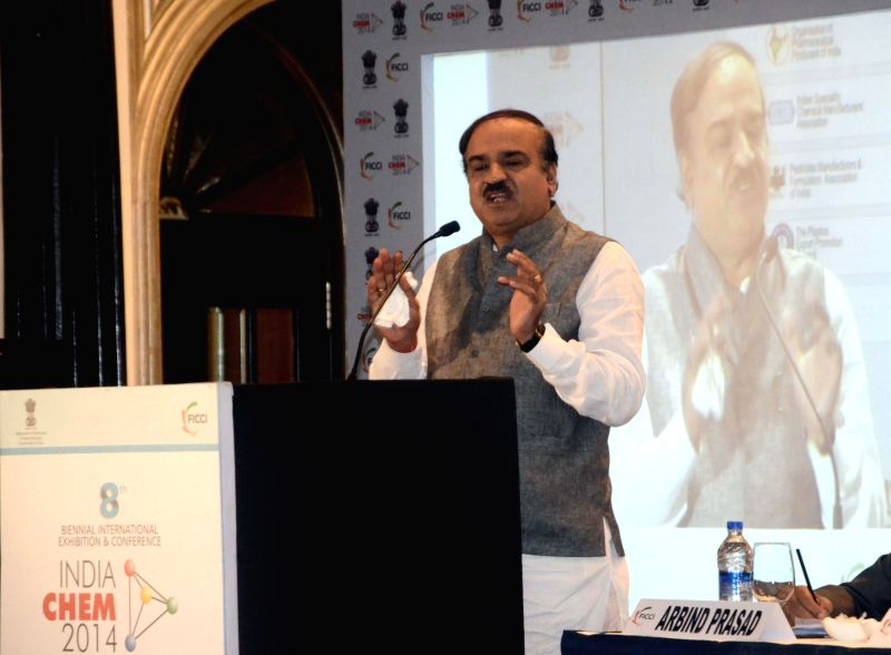 Union Chemicals and Fertilizer Minister Ananth Kumar addresses during a programme organised to launch India Chem 2014 in Mumbai on July 4, 2014. - Ananth Kumar