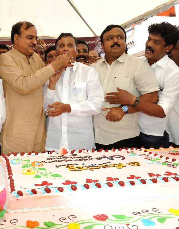 Union Chemicals and Fertilizer Minister Ananth Kumar during 64th birthday celebrations of BJP leader and Karnataka legislator V Somanna in Bangalore on July 20, 2014. - Ananth Kumar