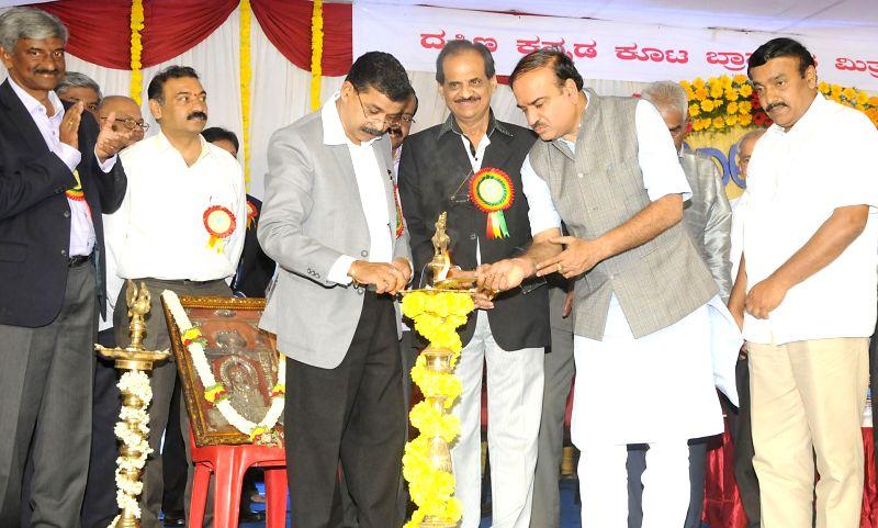 "Union Chemicals and Fertilizer Minister Ananth Kumar during inauguration of ""Suvarna Mahotsava"" (Golden Jubilee) of Dakshina Kannada Koota Brahamanara Mitra Mandali at Guru Narasimha ... - Ananth Kumar"