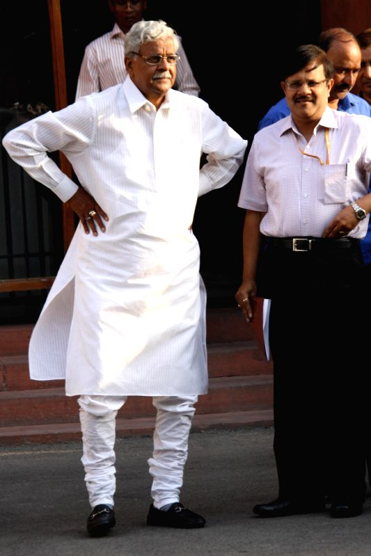 Union Coal Minister Sriprakash Jaiswal comes out after the last cabinet meeting of UPA-II government in New Delhi on May 13, 2014. - Sriprakash Jaiswal
