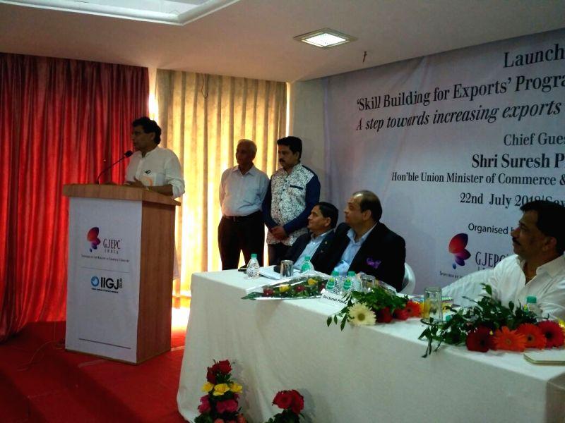 Union Commerce and Industries Minister Suresh Prabhakar Prabhu addresses at the launch of skill building program for export promotion in Gems and Jewellery sector, in New Delhi, on 22 ... - Suresh Prabhakar Prabhu