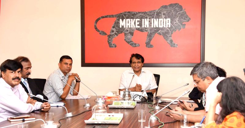 Union Commerce and Industry and Civil Aviation Minister Suresh Prabhakar Prabhu addresses at the launch of the mobile app – Niryat Mitra, in New Delhi on Aug 8, 2018. - Suresh Prabhakar Prabhu