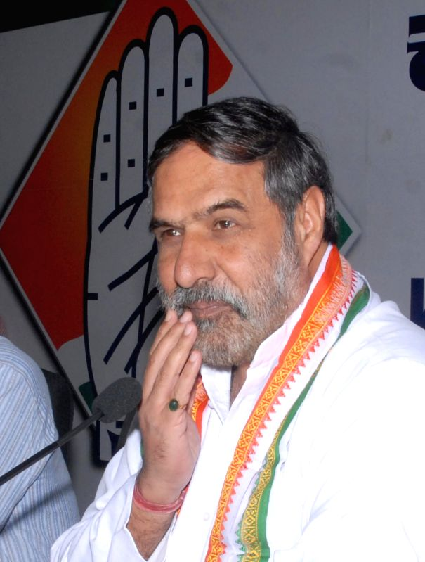 Union Commerce and Industry Minister and Congress leader Anand Sharma during a programme organised to release a DVD in Bangalore on April 10, 2014.