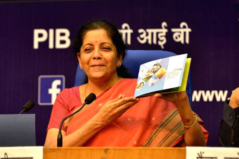 Union Commerce and Industry Minister Nirmala Sitharaman addressing a press conference in New Delhi on May 20, 2017. - Nirmala Sitharaman