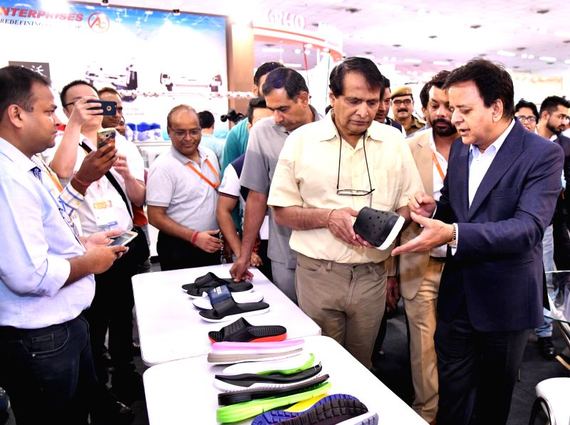 Union Commerce and Industry Minister Suresh Prabhakar Prabhu after inaugurating the fourth edition of India International Footwear Fair 2018, in New Delhi, on Aug 2, 2018. - Suresh Prabhakar Prabhu