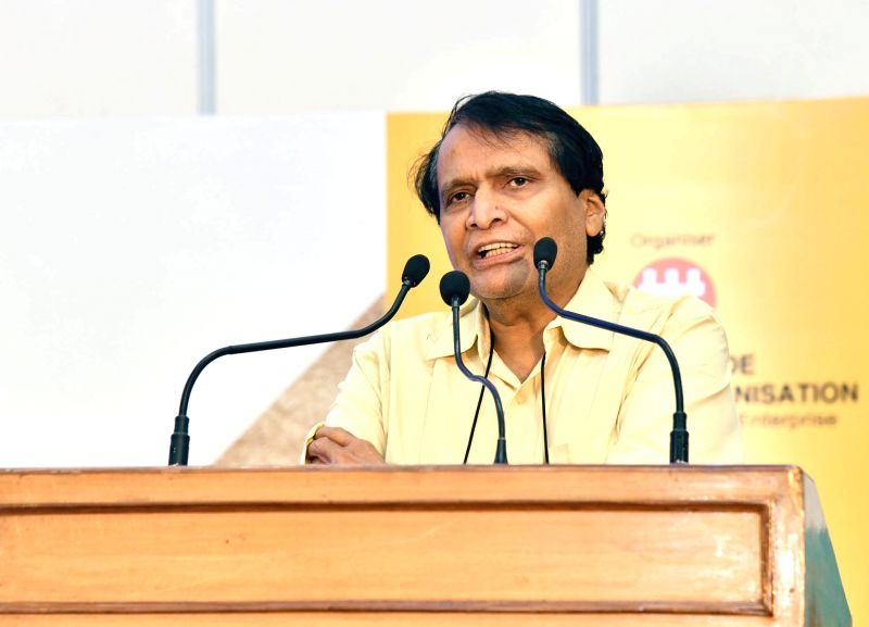Union Commerce and Industry Minister Suresh Prabhakar Prabhu addresses at the inauguration of the fourth edition of India International Footwear Fair 2018, in New Delhi on Aug 2, 2018. - Suresh Prabhakar Prabhu