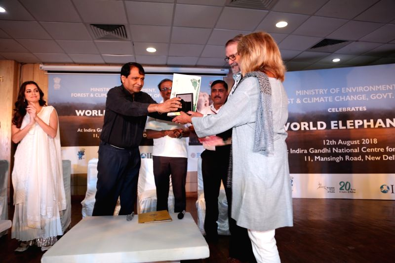 Union Commerce and Industry Minister Suresh Prabhakar Prabhu, actress and Wildlife Trust of India (WTI) Brand Ambassador Dia Mirza and other dignitaries at the inaugural programme of 'Gaj ... - Suresh Prabhakar Prabhu and Dia Mirza