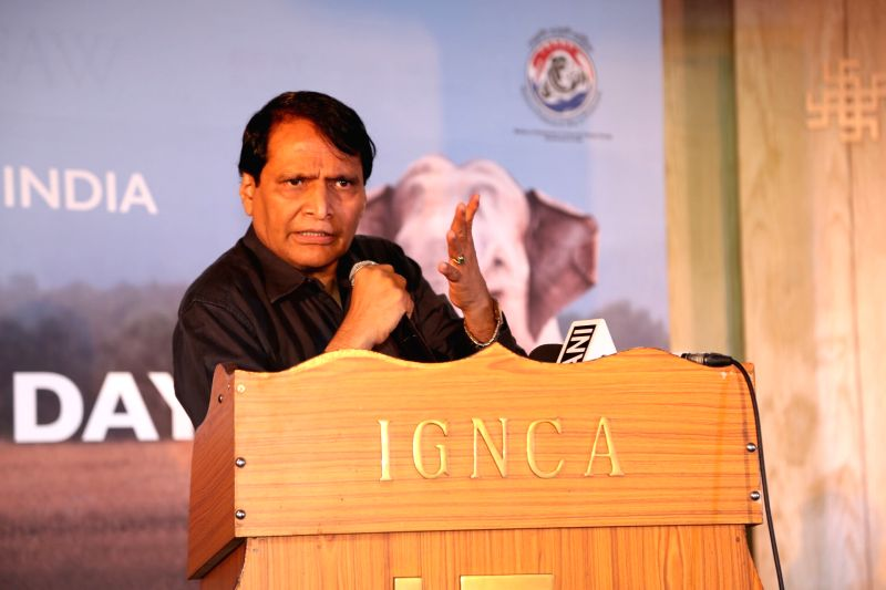 Union Commerce and Industry Minister Suresh Prabhakar Prabhu addresses at the inaugural programme of 'Gaj Mahotasav' organised on the occasion of World Elephant Day', in New Delhi on Aug ... - Suresh Prabhakar Prabhu