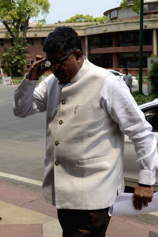 Union Communication and IT Minister Ravi Shankar Prasad at Parliament in New Delhi on May 9, 2016. - Ravi Shankar Prasad