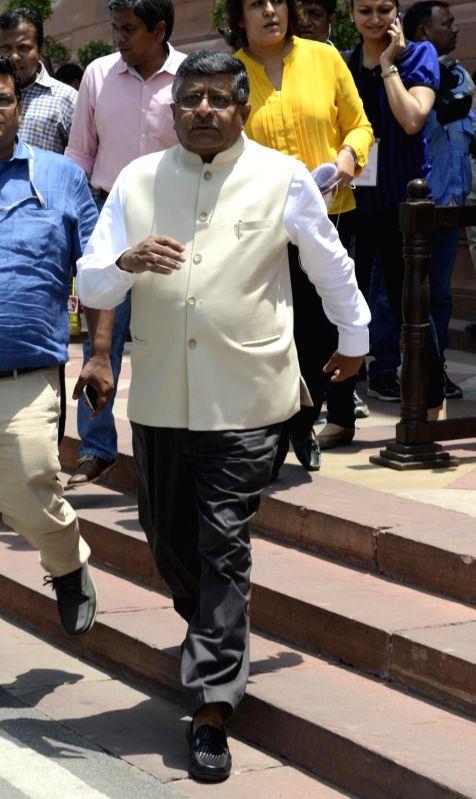 Union Communication and IT Minister Ravi Shankar Prasad after the Cabinet meeting at the Parliament in New Delhi on May 11, 2016. - Ravi Shankar Prasad