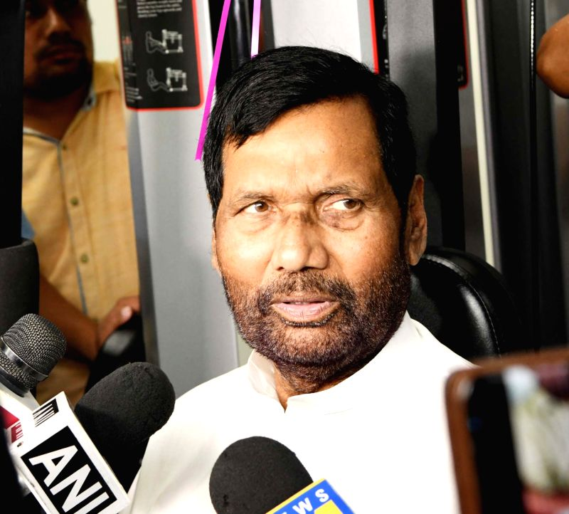 Union Consumer Affairs, Food and Public Distribution Minister Ram Vilas Paswan talks to the media during the inauguration of Gymnasium of the Department of Food and Public Distribution, in ... - Ram Vilas Paswan
