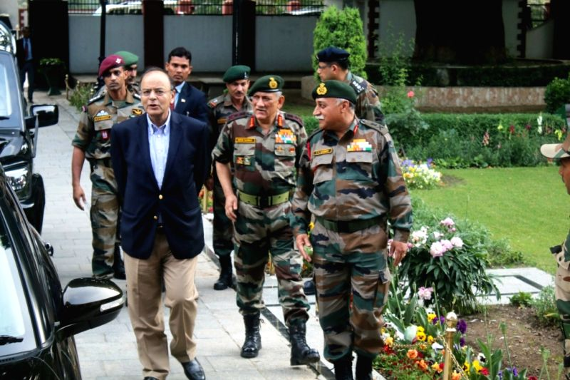Union Defence Minister Arun Jaitley and Army Chief General Bipin Rawat review security situation in Jammu and Kashmir in Srinagar on May 17, 2017. - Arun Jaitley