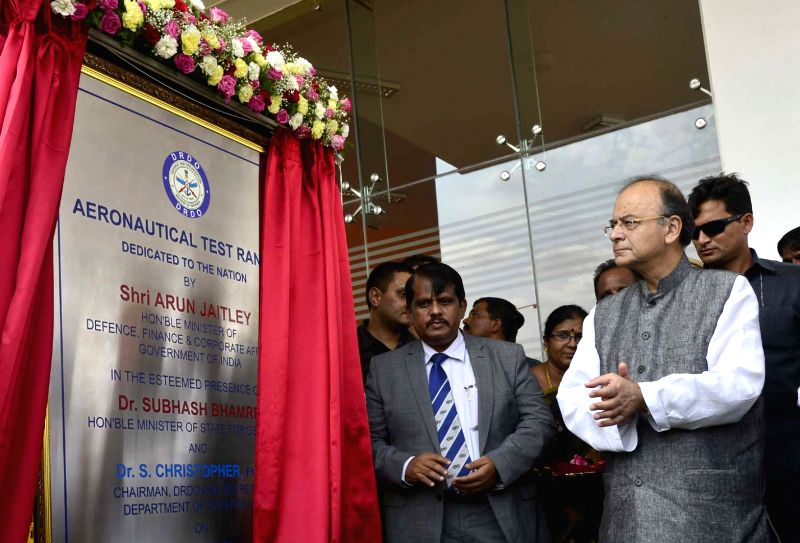 Union Defence Minister Arun Jaitley inaugurates Aeronautical Test Range in Challakere of Karnataka's Chitradurga district on May 28, 2017. - Arun Jaitley