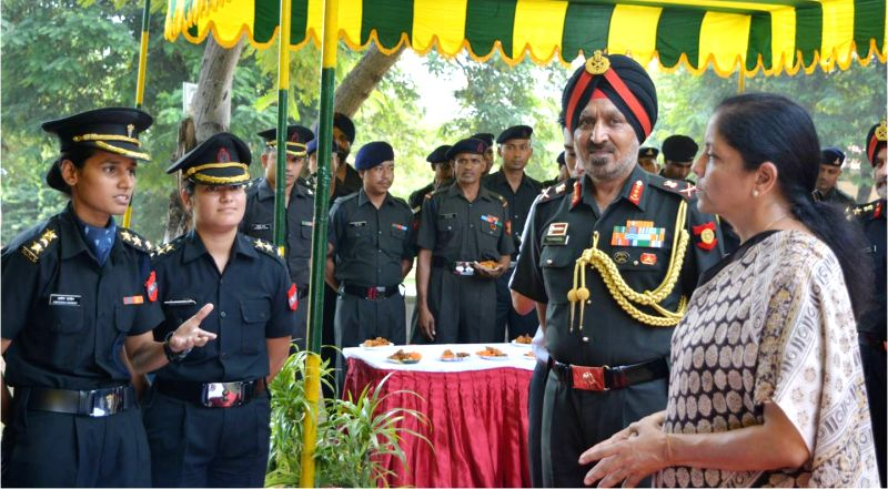 Union Defence Minister Nirmala Sitharaman interacts with Junior Commissioned Officers (JCOs) and Other Ranks (ORs), on her visit to Headquarters Western Command, Chandimandir Military ... - Nirmala Sitharaman