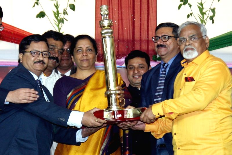 Union Defence Minister Nirmala Sitharaman presents the award for the best tableau in Republic Day Parade 2018 to Maharashtra tableau depicting coronation of Chhatrapati Shivaji Maharaj, at ... - Nirmala Sitharaman